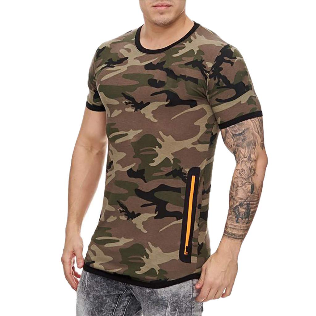 STORTO Mens Camouflage Zipper Tee Shirts Workout Fit Casual Fashion Short Sleeve Sports Tops
