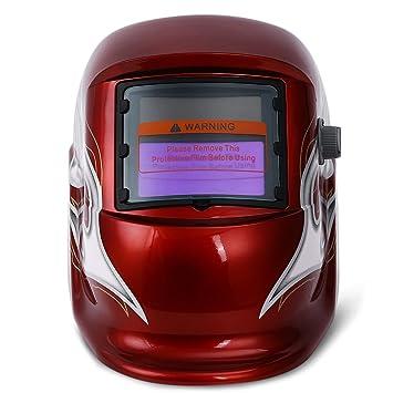 Energía Solar soldadura máscara de protección casco automático variable luz eléctrica soldadores Head Guard Protector Gear rojo: Amazon.es: Bricolaje y ...