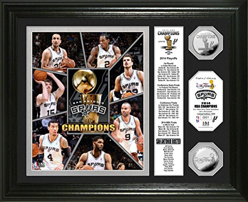 NBA San Antonio Spurs 2014 Finals Champions ''Banner'' Photo Mint Silver Coin, 22'' x 15'' x 4'' by The Highland Mint