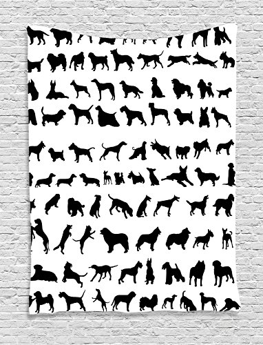- Ambesonne Dog Lover Decor Collection, Silhouettes of Different Breeds of Dogs Bulldog Shepherd Pinscher Spaniel St Bernard, Bedroom Living Room Dorm Wall Hanging Tapestry, Black White