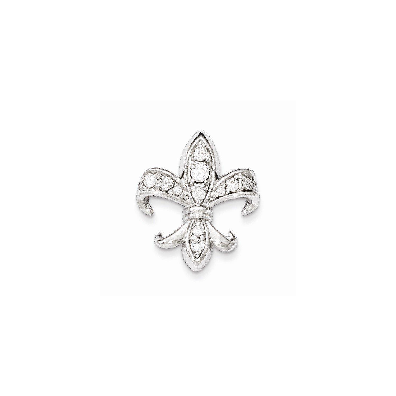 West Coast Jewelry Sterling Silver CZ Fleur de Lis Pendant