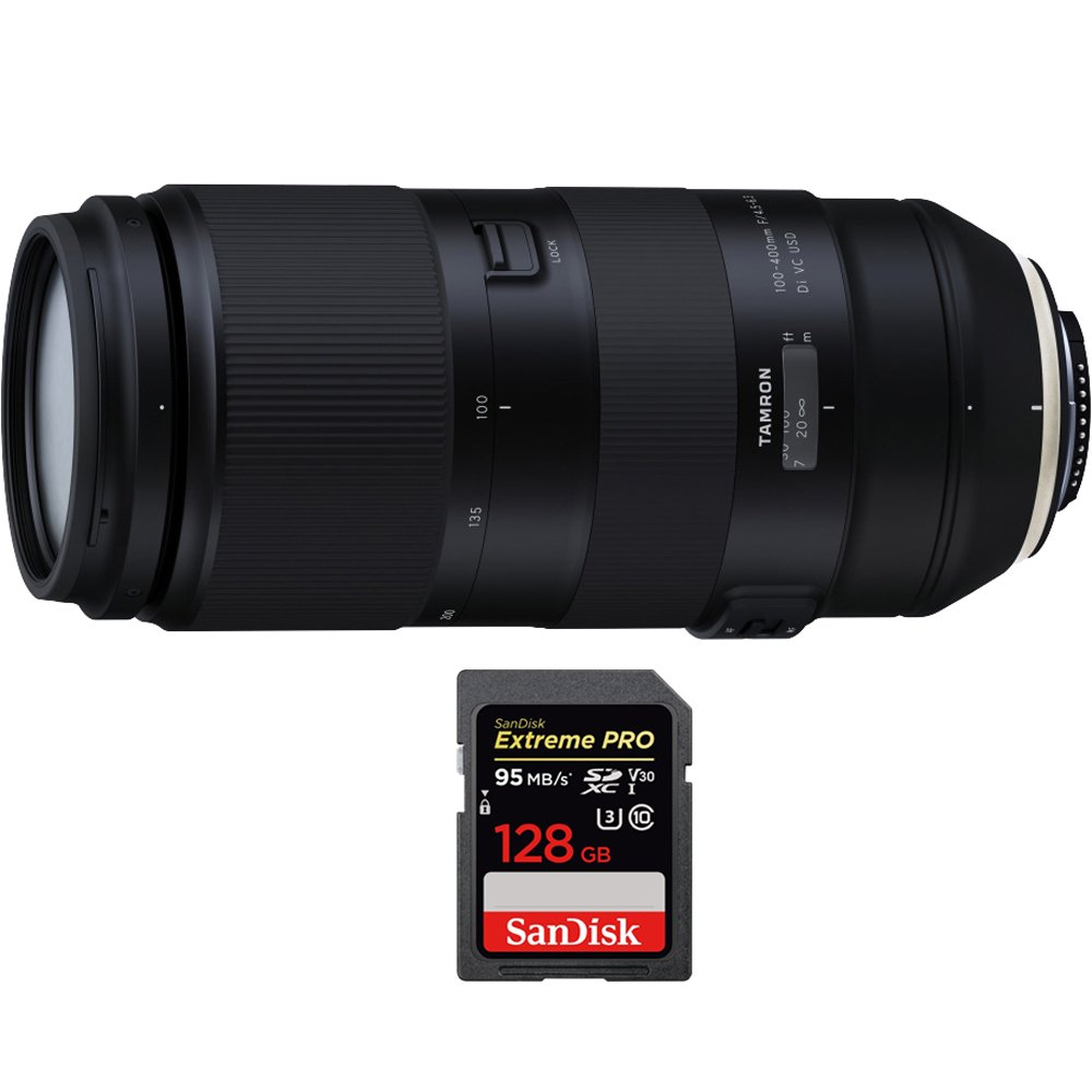 Tamron 100 – 400 mm f / 4.5 – 6.3 Di VC USDレンズfor Canon (afa035 C-700 ) with SanDisk Extreme Pro SDXCメモリカード128 GB UHS - 1   B076WX6LLV