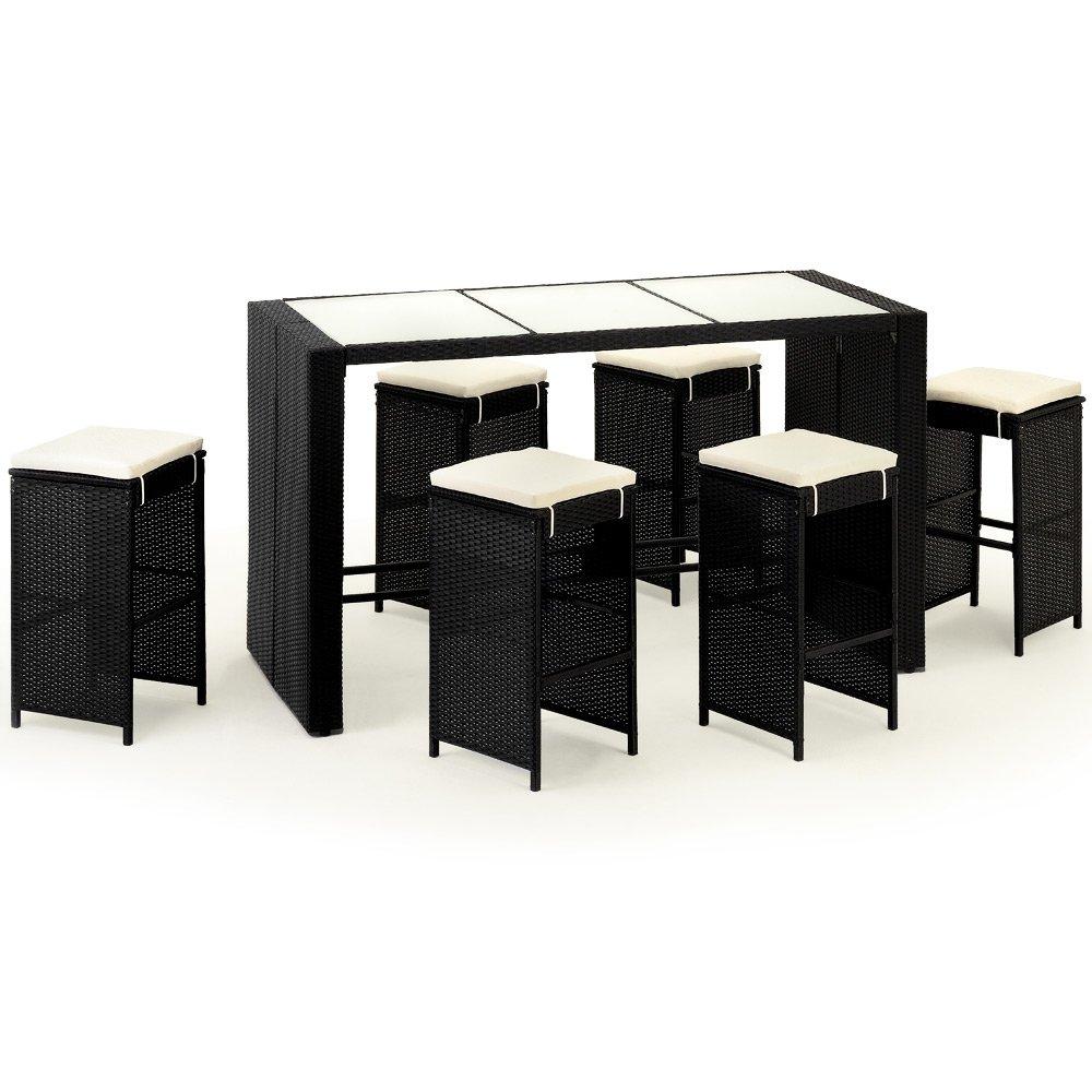 poly rattan barset 6 hocker inkl sitzauflagen gartenbar sitzgruppe theke bar g nstig kaufen. Black Bedroom Furniture Sets. Home Design Ideas