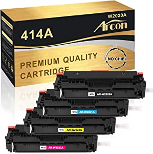 Arcon Compatible Toner Cartridge Replacement for HP 414A W2020A W2021A W2022A W2023A M479fdw M454dw for HP Color Laserjet Pro MFP M479fdw M454dw M454dn M479dn M479 M454 Toner Printer (4-Pack,NO CHIP)