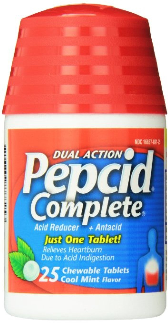 Pepcid Complete Dual Action Acid Reducer, Chewable Tablets, Cool Mint 25 ea (9 Pack) by Pharmapacks