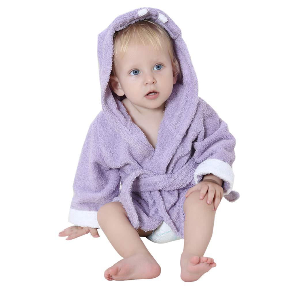 BaronHong 100/% Cotton Cute Hood Animal Cartoon Shape Unisex-Baby Bathrobe Purple-Hippo,M