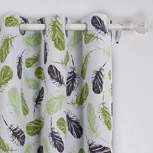 Deconovo Grommet Panels Top Muticolor Feather Print Thermal Insulated Blackout Curtain
