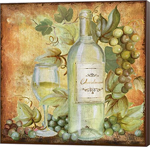 Grapevine & Wine White by Art Licensing Studio Canvas Art Wall Picture, Museum Wrapped