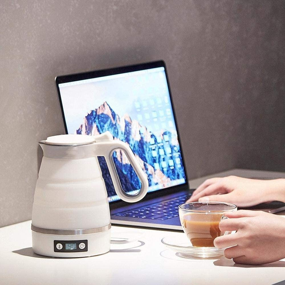 Bollitore elettrico, silicone, pieghevole, bollitore portatile da viaggio, spegnimento automatico, 0.6L, 750w, bianco-bianco Bianco