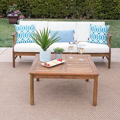 Great Deal Furniture Lorelei Outdoor 3 Seater Teak Finished Acacia Wood Sofa and Table Set with Cream Water Resistant Cushions (Set Furniture Sofa Wood)