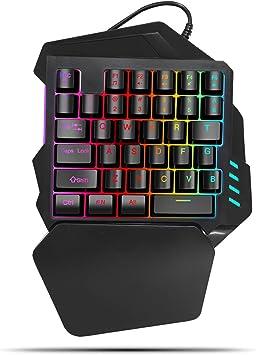 Lazmin Teclado mecánico RGB One Hand, 35 Teclas con retroiluminación Teclado para Juegos con una Sola Mano con Teclas FN