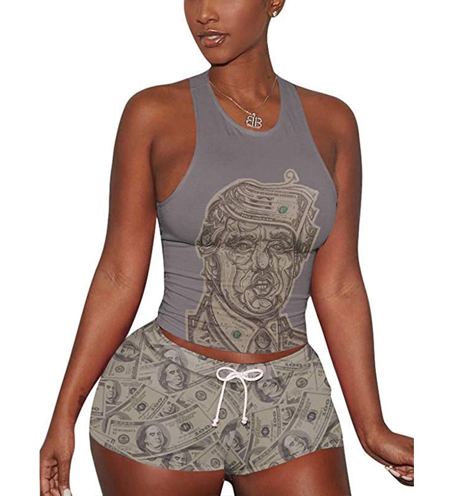 Women's 2 Piece Shorts Set - Sexy Tank Tops + Shorts Tracksuit X-Large Grey by Mojessy