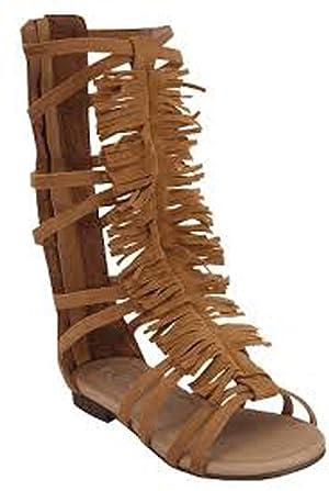 Atta 20k Little Girls Strappy Buckled Fringe Gladiator Flat Sandals Tan
