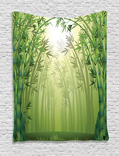 Bamboo Decor Tapestry By Ambesonne, Illustration Of Bamboo Trees In RaIn Forest Far Eastern Wildlife Tropical Nature Style Decor, Bedroom Living Room Dorm Decor, 40 W x 60 L Inches, Green (Tropical Style Living Room)