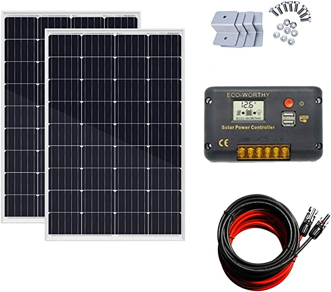 ECO-WORTHY 100W 120W 12V Solar Panel Kit with 20A Solar Charge Controller /& 5m Solar Cable /& Z Style Mounting Brackets for RV Boat Motorhome Caravan Camper 120W Solar Panel System