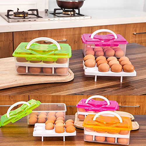 RMay Store HOTUMN Egg Carrier Egg Container 2 Tiers Eggs Holder with Handle Holds 24 Eggs for Refrigerator Freezer Storage (Green) by RMay Store (Image #6)