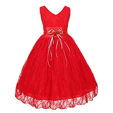 Little Girls Red Flower Embellished Waistband Lace Flower Girl Dress 2 b9a06316cce1