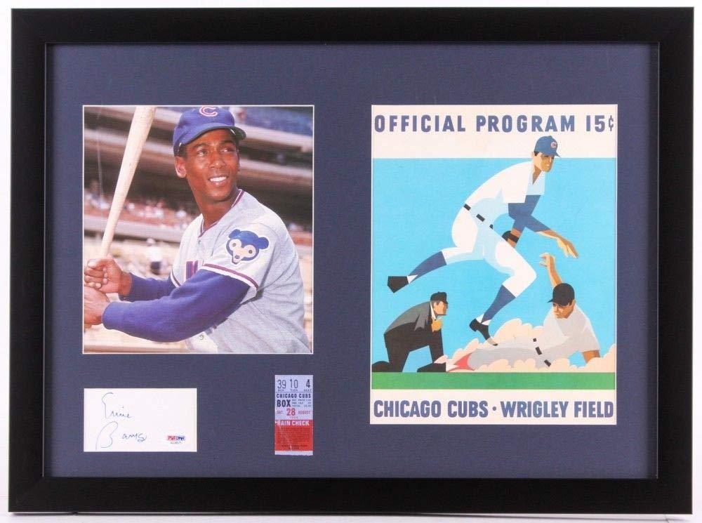 Ernie Banks Autographed Signed Cubs 17X23 Framed Cut Display Ticket & 1970 Scorecard PSA/DNA Certified