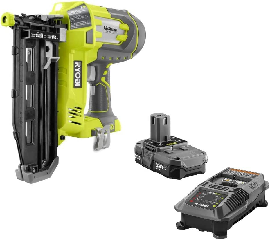 Ryobi 18V One Airstrike 16-Gauge 3 4 -2-1 2 Cordless Finish Nailer P325 – Battery Charger Included