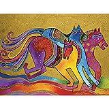 Westland Giftware Canvas Wall Art, Caballos de Colores, 12 by 16
