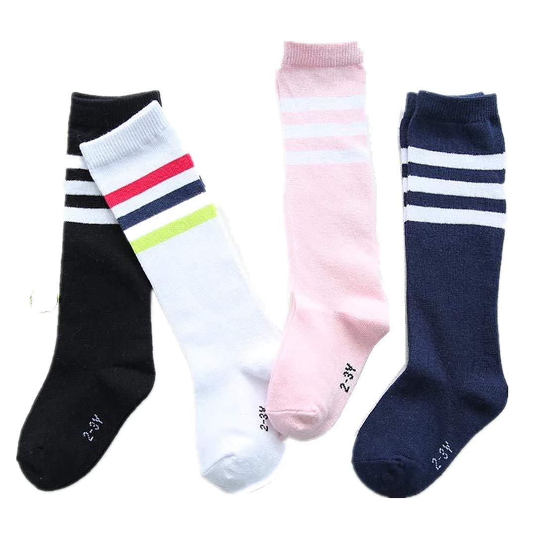 Natuworld Pack of 4 Children Girls Boys Toddlers Cotton Thicken Knee Long Soccer Socks Team Socks for 4-5 Years Old Kids(diffrent color) by Natuworld