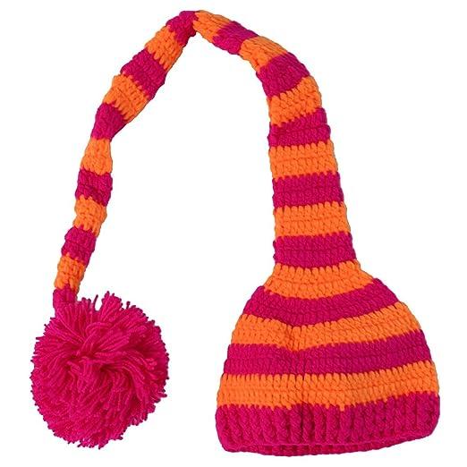 f8da20d615d Making Believe Striped Crochet Christmas Elf Long Tail Pom Pom Hat for Baby    Toddler (