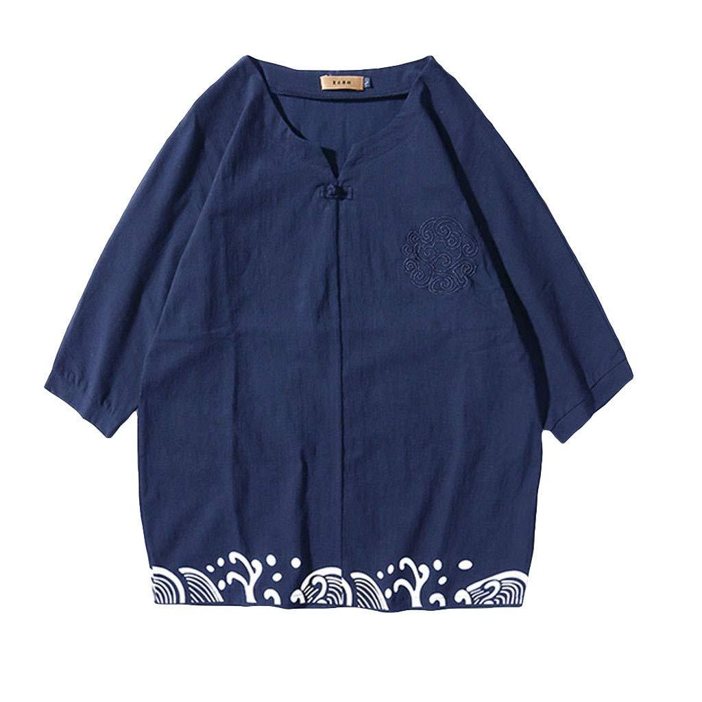 MODOQO T-Shirt for Men,Summer Casual Loose Fit Solid Color Soft Linen Set Short Sleeve Tee