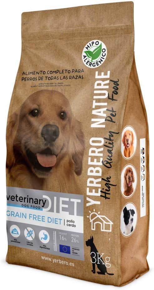 YERBERO Nature Grain Free Diet Pollo y Cerdo, alimento sin Cereales para Perros 3kg