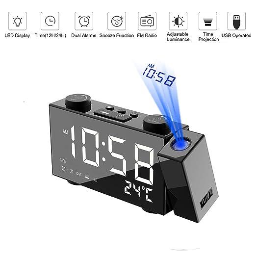 HL Radio Despertador Proyector Pantalla Digital De Detección De ...