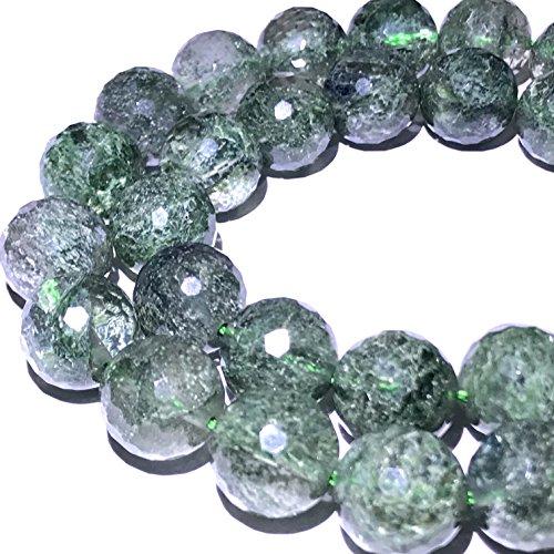 [ABCgems] Brazilian Green Actinolated Quartz AKA Moss Rutilated Quartz (Beautiful Inclusions) 14mm Faceted Round Beads ()