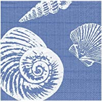 Caspari Shells Paper Cocktail Napkins in Ocean Blue - Two Packs of 20