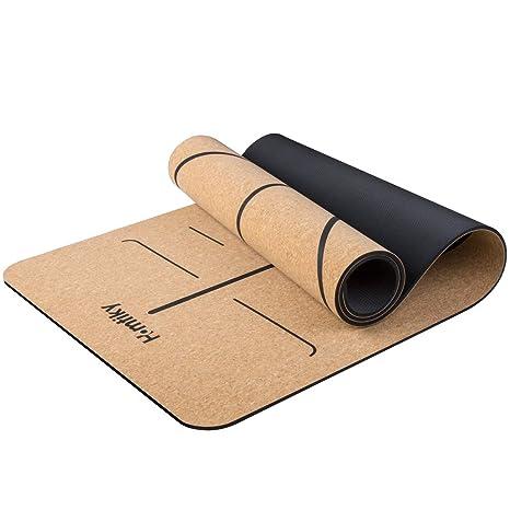 Homtiky Esterilla Yoga Antideslizante, Colchoneta Yoga de Corcho, Esterilla Deporte Hecha de Material Natural con Sistema de Línea, Yoga Mat de ...