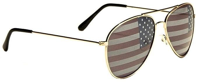 fca5488a620 Kids USA Patriotic American Flag Print Lens Aviator Sunglasses (Gold