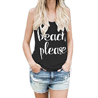 DondPO Fashion Womens Print Letter Sleeveless T Shirt Loose Casual Blouse Crop Tops Vest Tank Tops
