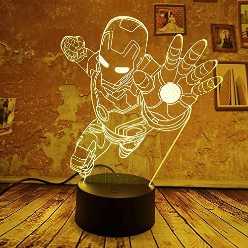 Visuelle Lichtquelle, Coole 3D-Lampe Cool Man Night Light 7 Auto Farbverlauf Illusion Boys Kid Light Toy Schlafzimmer…