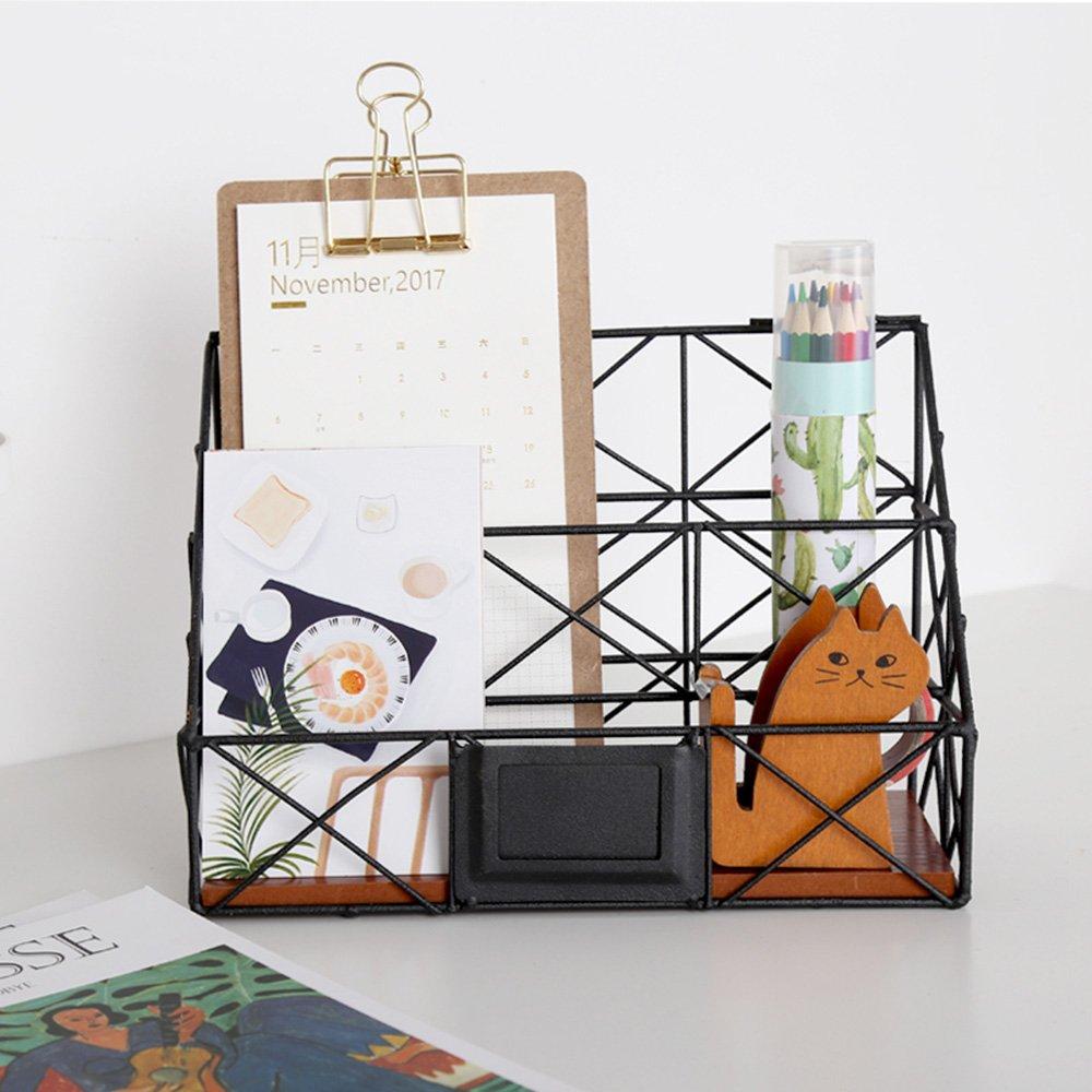 Vanra Fil m/étallique /à suspendre Magazine File support Poubelle 2/Slot Organiseur de stockage de bureau de support mural avec tableau noir /à imprimer 9.8 L x 3.9 W x 7 H noir