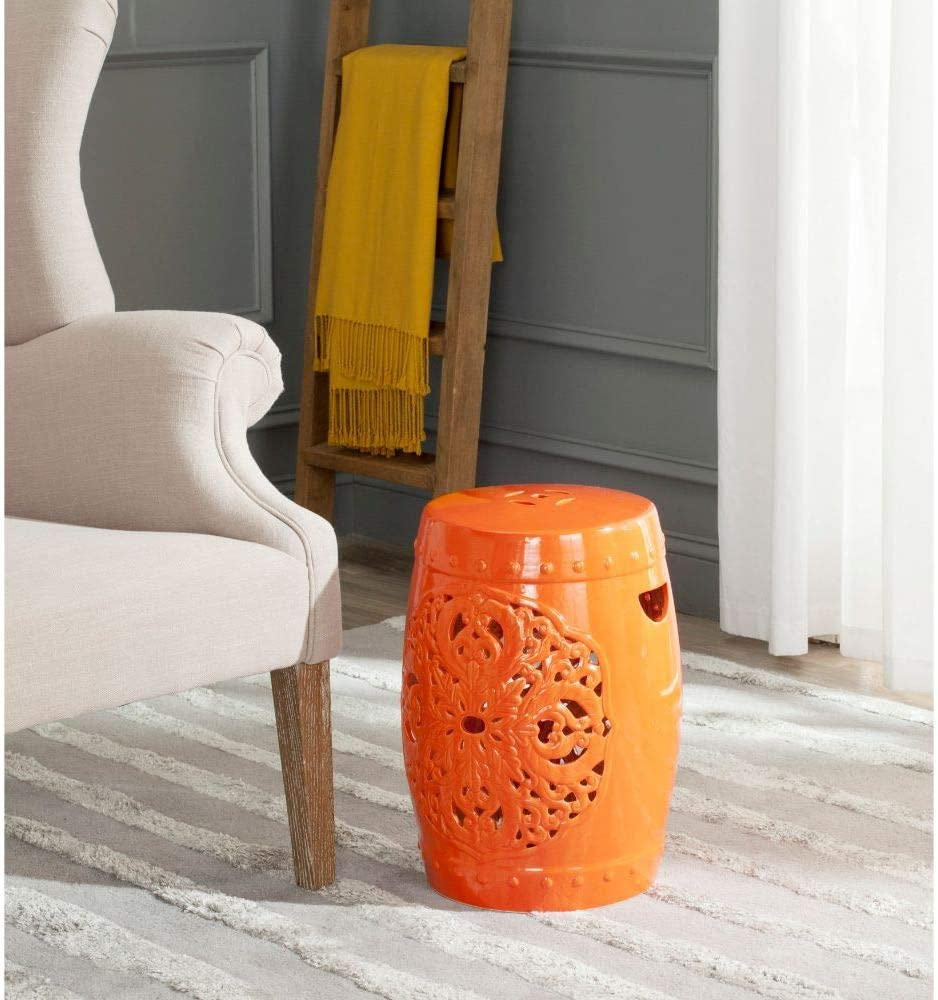 Safavieh Flora Glazed Ceramic Decorative Garden Stool, Orange