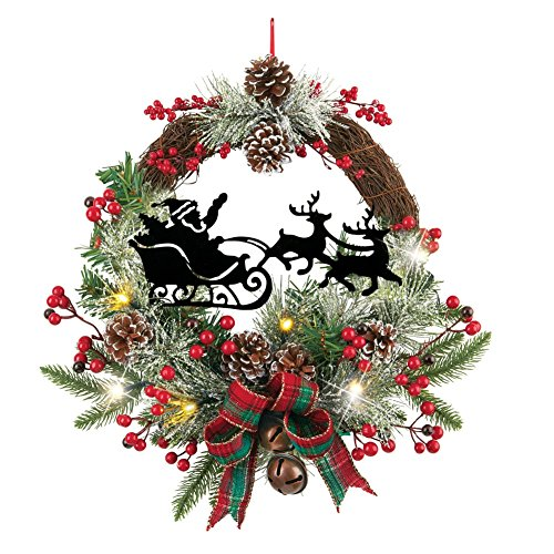 Lighted Santa Sleigh Evergreen Wreath
