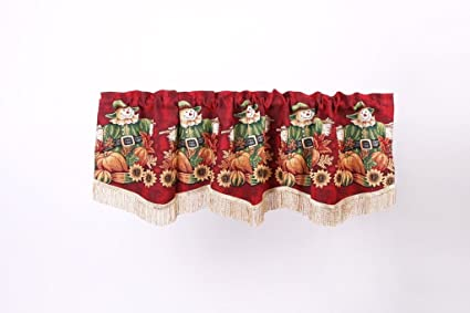 HomeCrate Fall Harvest Collection, Scarecrow Pumpkins Autumn Leaves and Sunflowers Design, Tapestry 60