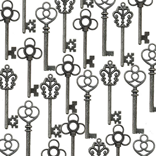 (Aokbean Mixed Set of 30 Vintage Skeleton Keys in Antique Pewter - Set of 30 Keys(Antique Pewter))