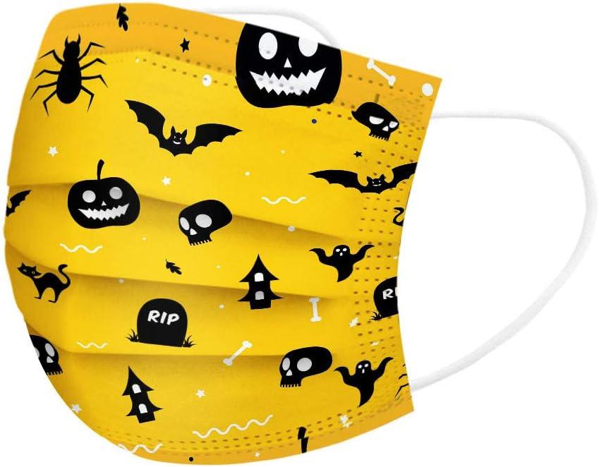 Nettes Halloween-Muster 3-lagig Mundfilter Einwegfilter Einweg-Bandanas f/ür Kinder niedlicher bedruckter atmungsaktiver Stoff Wancooy 50x Mund Nase Schutz Einweg