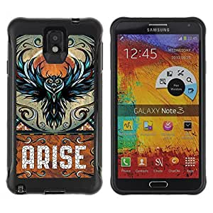 Hybrid Anti-Shock Defend Case for Samsung Galaxy Note 3 / Awesome Owl Arise Art