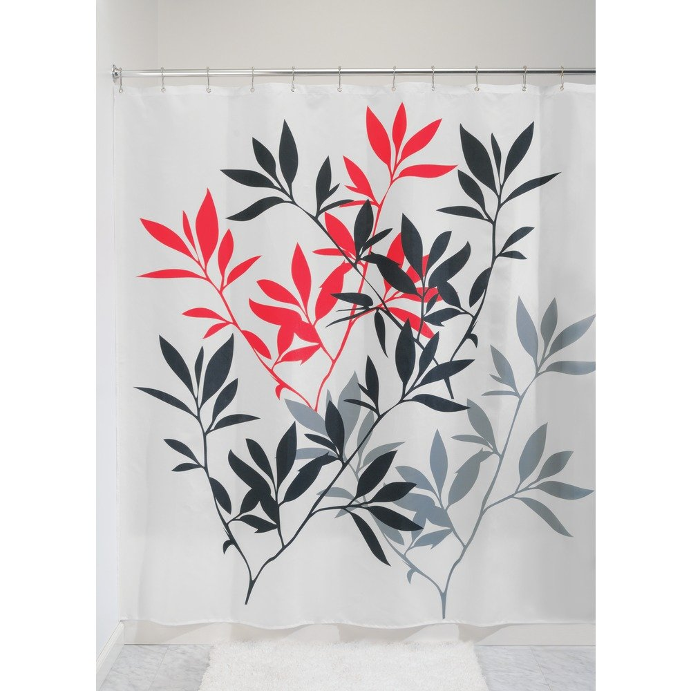 InterDesign 35625 Leaves Fabric Shower Curtain - Extra Long, 72