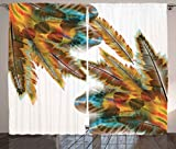 Ambesonne Tribal Decor Curtains, Ethnic Feathers Bohemian Lifestyle Featured Primitive Artsy Hippie Image, Living Room Bedroom Window Drapes 2 Panel Set, 108W X 96L Inches, Sepia Apricot