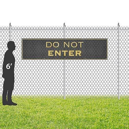 CGSignLab Classic Gold Wind-Resistant Outdoor Mesh Vinyl Banner 16x4 Do Not Enter