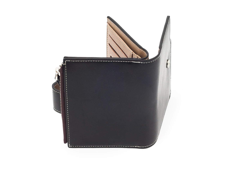 Moderno portafoglio da uomo con tasca con cerniera per gli spiccioli pelle eco Marrone