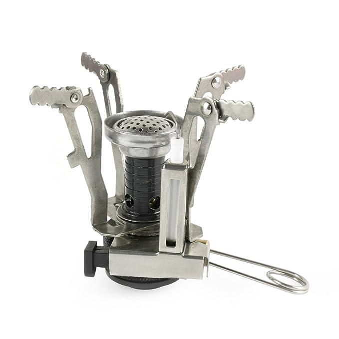 Grenhaven - Hornillo de camping - Cocina portátil a gas butano - Encendedor piezoeléctrico - Perfecto para el aire libre - Acabado cromado - 3500 W: ...