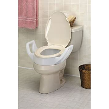 Toilet Seat For Elderly.Raised Toilet Elongated Elevated Seat With Arms Fits In Between Tolilet Bowel And Seat