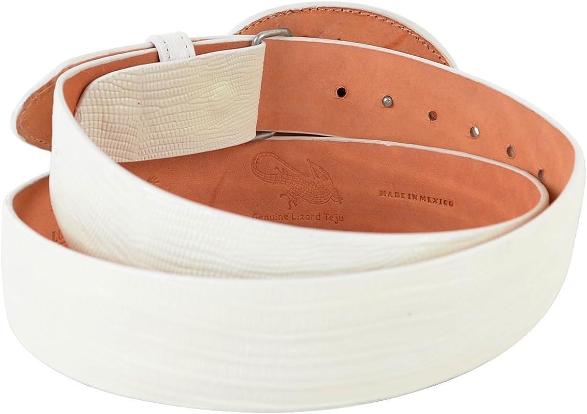 Original White Lizard Teju Skin Western Style Belt