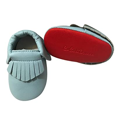 f279d8102db0 Baby Girls Sky Blue Red Soft Sole Faux Leather Tassel Moccasin Crib Shoes 3 -6M